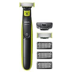 Idea Regalo - Philips QP2520/30 OneBlade Rade, Regola e rifinisce la barba di qualsiasi lunghezza, 3 Pettini Regolabarba + 1 Lama di Ricambio