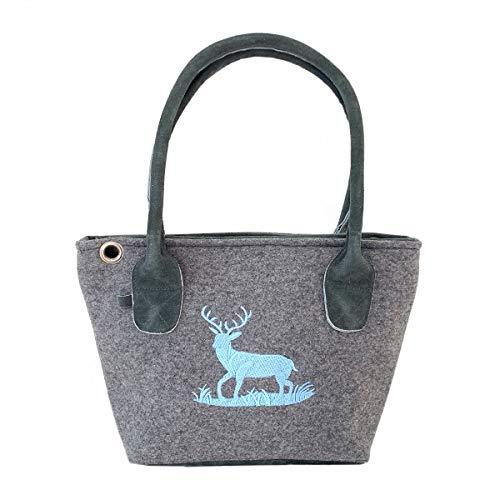 Graue Trachten-Handtasche Dirndltasche aus Filz mit Wild-Leder und Blauer Stickerei Hirsch