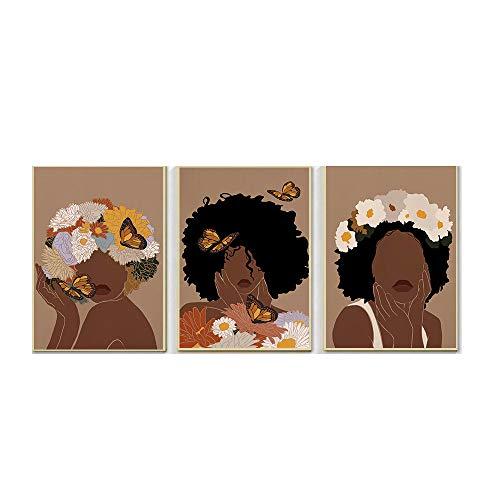 Moda Africano Mujer Poster Flor Mariposa Pared Arte Cuadros Afro NiñA Belleza Lienzo Impresiones Boho Pintura EstéTica Inicio Decoracion 40x60cmx3 No Marco
