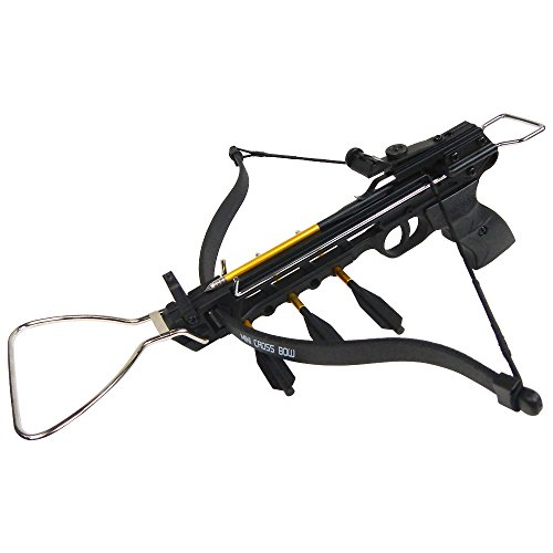 iGlow 80 lb Black Aluminum Hunting Pistol Crossbow Bow with Build-in Arrow Holder +15 Bolts/Arrow 175 150 50