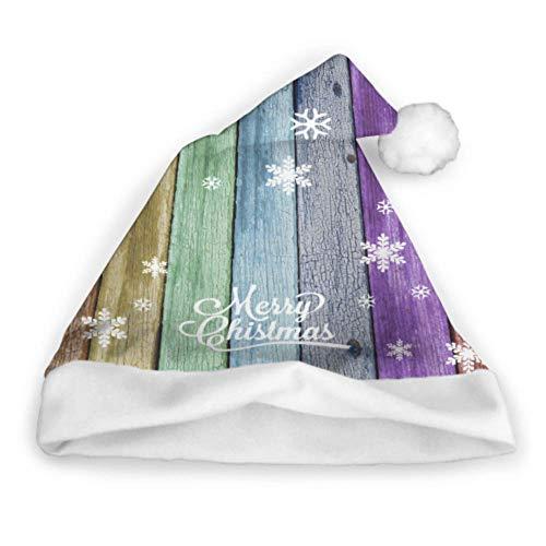 Regenbogen-Farbe gemalt gealterte verwitterte hölzerne Planken Spaß-Weihnachtshüte Weihnachtskappe Erwachsen-Partei-neues Jahr-Weihnachtstag-Dekoration-Feiertags-Partei-Hüte Sankt-Hut und Zusätze