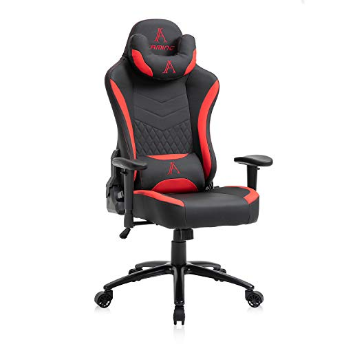 Racing Style PU Leather Gaming Chair - Ergonomic Swivel Computer, Office or Gaming Chair Desk Chair HOT (RED0)