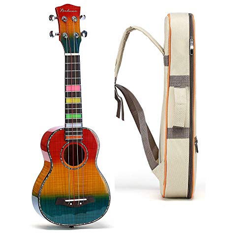 Balnna Concert Ukulele (23 inch) ,Professional Hawaiian Rainbow Ukulele with Aquila Color Strings and Soft Case Gig Bag, Wooden Guitar With Free Online 10 Lessons