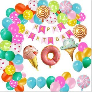 Candy Land Ice Cream Lollipop Donut Theme Birthday Party for Decoration with Happy Birthday Banner Candy Birthday Party Su...