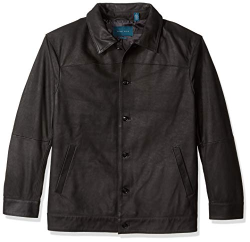 Perry Ellis Men's Tall Leather Button Front Jacket, Black/DFR, 2X Big