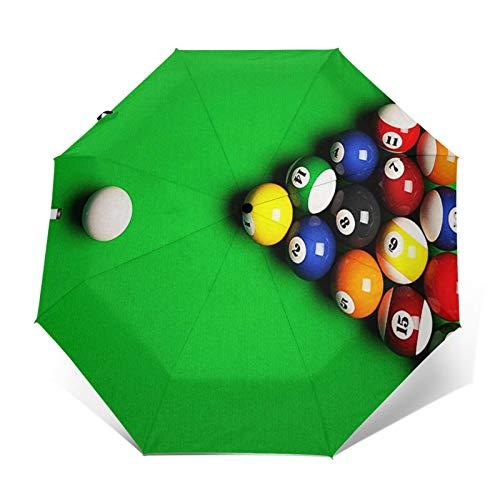 Paraguas Plegable Automático Impermeable Mesa de Billar 5, Paraguas De Viaje Compacto...