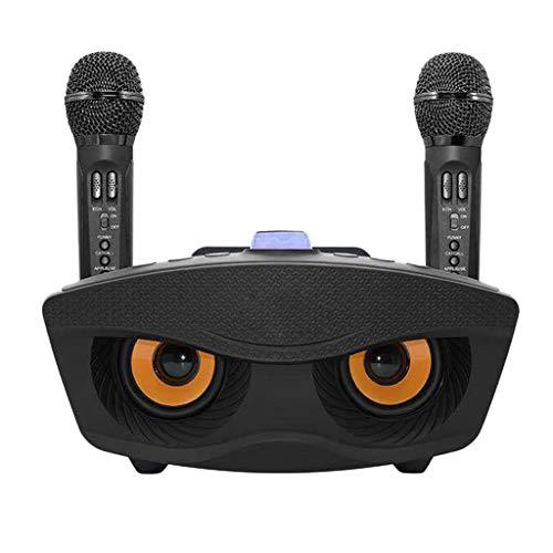 STRAW Sistema de micrófono inalámbrico Bluetooth para el hogar de Mano para Cantar en Vivo Micrófono de Altavoz Máquina Mic Pares emparejados Año Nuevo Karaoke - Negro (Color : Black)