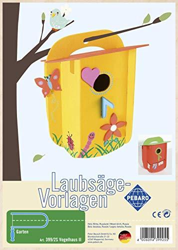 Pebaro 399/2S Laubsägevorlage aus Sperrholz Motiv Vogelhaus II, DIN A4