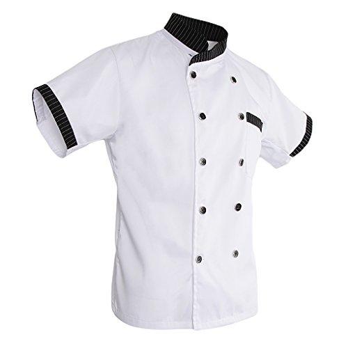 Fenteer Unisex Cappotto Giacche Camicie T-shirt Manica Corta Uniforme da Cuoco Chef - Bianca, M