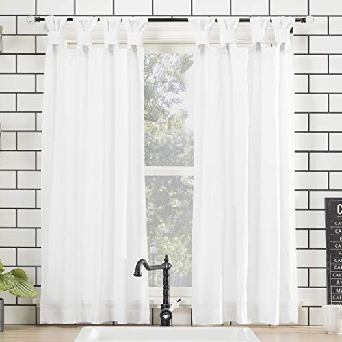 """Archaeo Washed 100% Cotton Twist Tab Curtain, 52"""" x 45"""", White"""