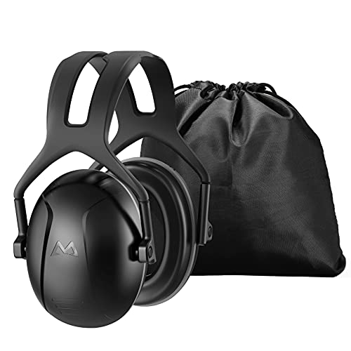 Hearing Protection for Shooting, SNR 34dB Noise Reduction Safety Ear Muffs, Noise Blocking Earmuffs/Headphones, Soundproof Ear Defenders for Hunting, Mowing, with Carrying Bag, Black, Large