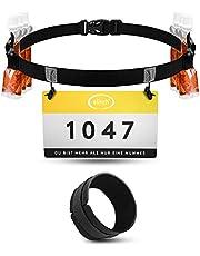 elinch Set van 2 startnummerriemen & chipband – loopgordel voor heren en dames – triathlon, marathon, loop-startnummerband – loopgordelset zwart