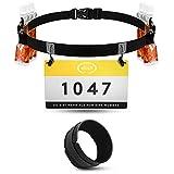 elinch - Juego de 2 cinturones para números de inicio y banda para correr, para hombre, mujer, triatlón, maratón, carrera de carreras, color negro