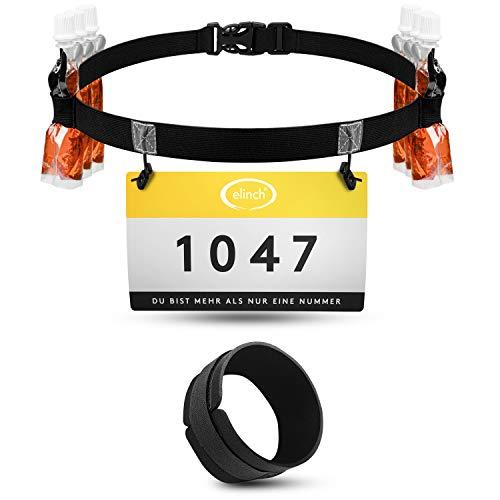 elinch 2er Set aus Startnummerngürtel & Chipband - Laufgürtel für Herren, Damen - Triathlon, Marathon, Lauf Startnummernband - Laufgurt Set schwarz