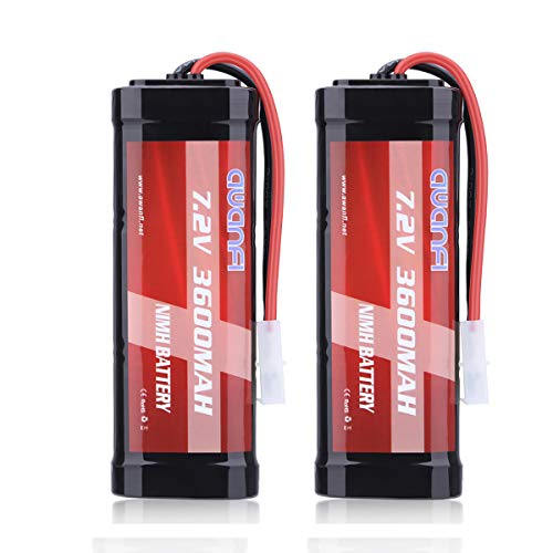 AWANFI 7.2V 3600mAh RC Battery High Capacity NiMH Battery with Tamiya Connector for RC Car RC Truck RC Boat Traxxas LOSI Associated HPI Kyosho Tamiya Quadcopter Drone Hobby(2 Pack)
