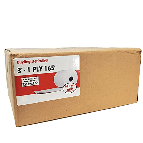 "BuyRegisterRolls 1-Ply 3"" x 165' Bond 50 Rolls (48 GSM) Receipt Paper POS Cash Register Impact, SP700, tmt-u220b Kitchen Printer Paper"