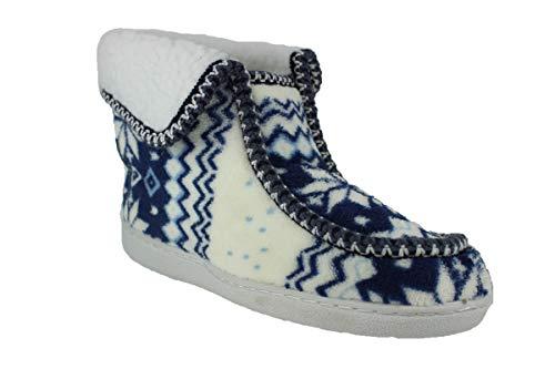 buyAzzo Warmfutter Damen Hausschuhe | Norweger Hüttenschuhe | Pantoffel Plüsch Stiefel Stiefeletten | Gefütterte Winter Slipper | BA882 (36 EU, Blau)