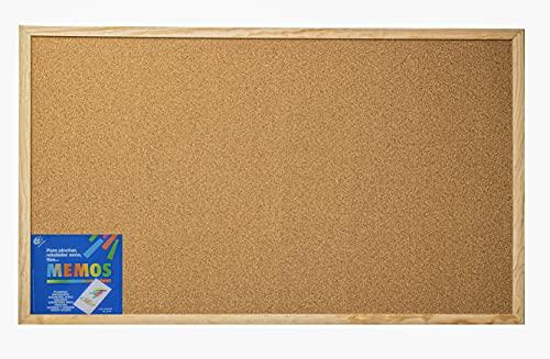 Tablón de anuncios de corcho para pared con Moldura Robusta (120x60 Cm) - Tablero de notas
