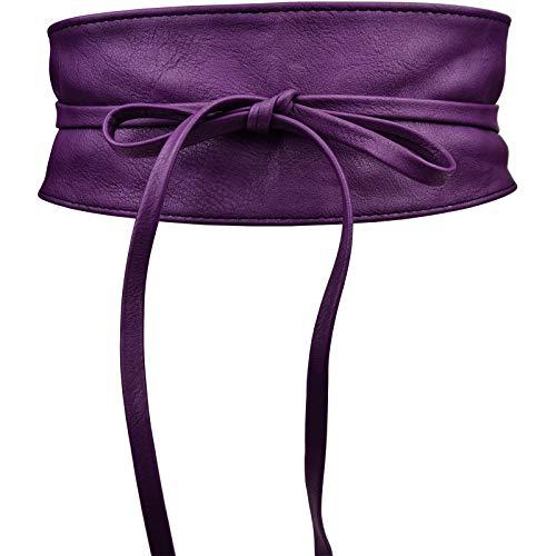 Cinturón obi para mujer pelo sintético ancho 10cm Talla única-Morado