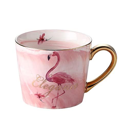 Taza de cerámica de mármol creativo de la taza de flamenco coreano taza de café taza de cereales taza de desayuno caja de regalo cuchara de oro