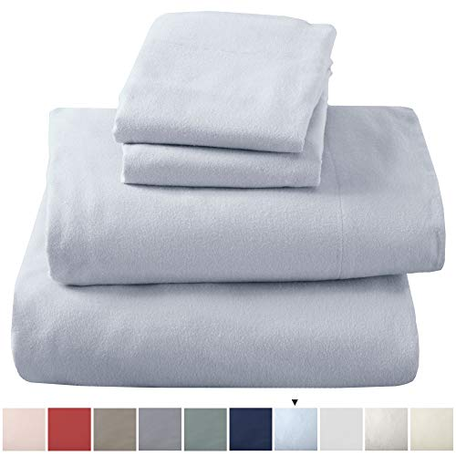 Great Bay Home Extra Soft 100% Turkish Cotton Flannel Sheet Set Warm Cozy Lightweight Luxury Winter Bed Sheets in Solid Colors Nordic Collection Twin Pearl Blue