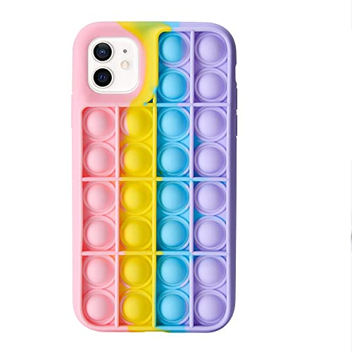 Qoosea iPhone 12/12 Pro Carcasa Silicona Protectora Push Popping Bubble Fidget Toys Funda para iPhone 12/12 Pro, Color Arcoíris de Silicone Suave para Aliviar Estrés
