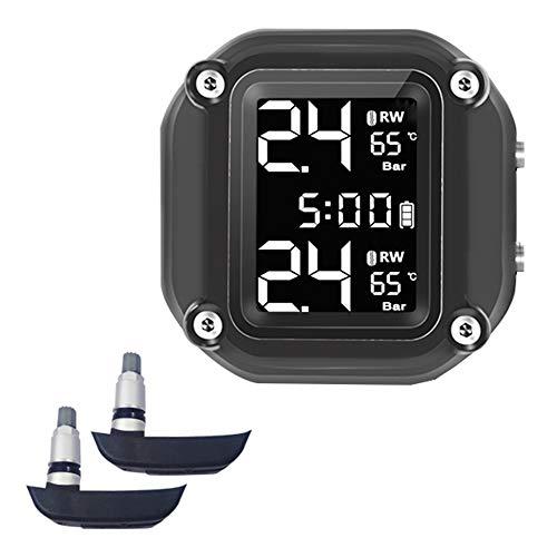 Sunydog Motocicleta Sistema de monitoreo de presión de neumáticos en Tiempo Real Pantalla Digital de Tiempo Alarma anormal Carga de succión magnética a Prueba de Agua (Tipo Incorporado)