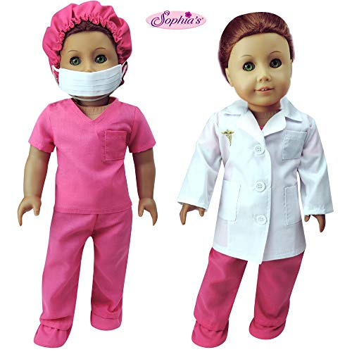 Sophia's Complete 18 Inch Doll Doctor or Nurse 6 pc Set of White Doll Lab Coat, Face Mask. Fuchsia Shoe Covers, Cap & Scrubs for American Girl Dolls and More! 6 Pc. Doll Doctor Set