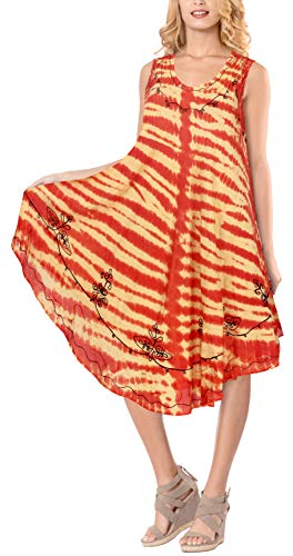 LA LEELA señoras la túnica Suave Tinte Lazo Bordado Corto la Playa Vestido cóctel Loungewear Traje baño Ocasional Encubrir sin Mangas Ropa Playa más Mujeres tamaño Tapa la túnica Calabaza Naranja