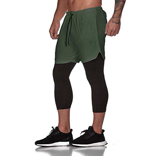 Frestepvie Herren 2 in 1 Sport Shorts mit Taschen Schnell Trocknend Fitness Hose Kompression Laufhose Jogginghose Slim Fit Stretch Kurz Sporthose Fitness Joggen Training Leggings für Männer