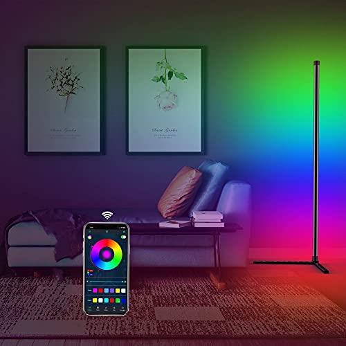 LED Stehlampe Dimmbar,TOCLL Farbwechsel Stehlampe Wohnzimmer,App-Steuerung mit Musik Snyc,Timer, inkl. Fernbedienung,RGB LED-Lampe mit 16 Millionen Farben,156cm, Stromversorgung via USB-Anschluss