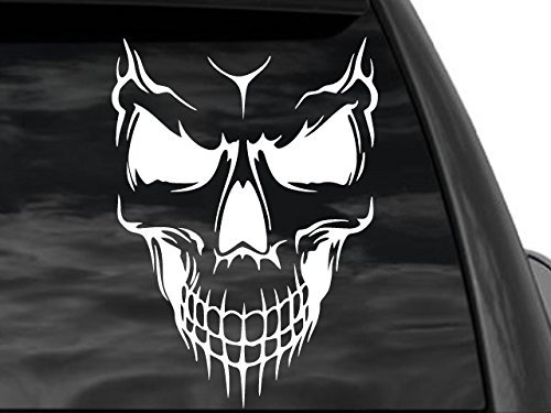 "FGD Skull Rear Window Decal in White 8""x12"" (Ts/1) Car Truck SUV Motorcycle"