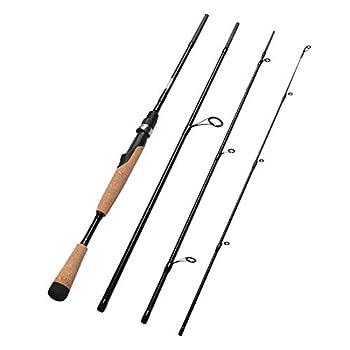 Fiblink 4 Pieces Travel Spinning Rod Medium Carbon Spinning Fishing Rod Portable Fishing Rod  7 6  Medium