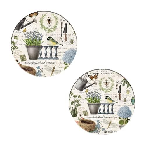 Posavasos para bebidas, moderno vintage francés granja flor jardín absorbente cerámica piedra posavasos Set de 2 posavasos redondos para protección de mesa, apartamento cocina bar decoración