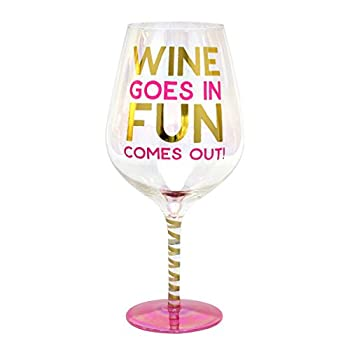 Top Shelf Decorative Luster Glass Oversized  Wine Fun  Wine Glass with Gift Box Unique and Funny Gifts Idea for Birthdays Christmas Weddings or Any Occasion Holds 2 Whole Bottles of Wine