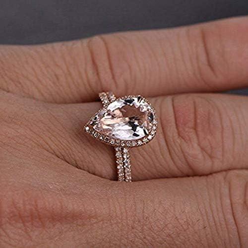 Qiaoying Fashion Jewelry 2pcs 18K Rose Gold Rings Gift Set Diamond Jewelry Wedding Band Ring product image