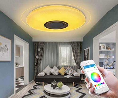 LED Muziek Plafond Licht met Afstandsbediening, Ingebouwde Bluetooth Speaker Smartphone APP, RGB Kleur Temperatuur Verstelbaar, Diammble Koel Wit Ronde Flush Mount Light Fixture