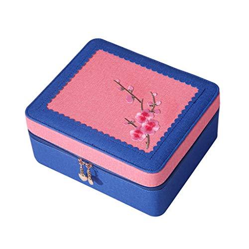 Cosmétique Case Accueil Simple Broderie Bureau Cosmétiques Boîte De Rangement Boîte De Rangement Détachable Miroir (Color : A, Taille : 24 * 20 * 11CM)