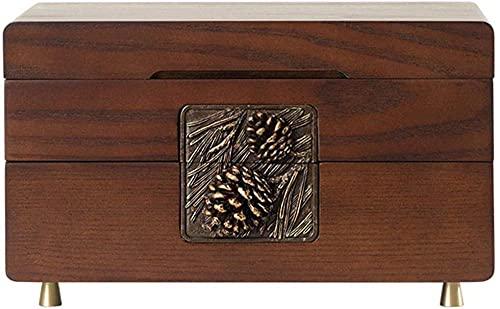 Caja de joyería grande de madera de viaje de joyería caja de almacenamiento reloj caja de almacenamiento collar anillo pendiente caja de regalo de almacenamiento - 2 capas
