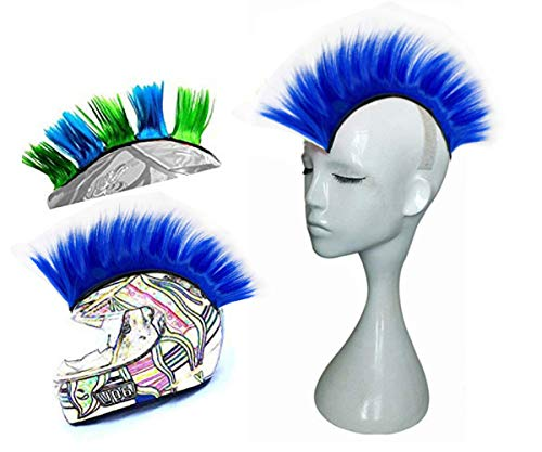 Hai Hong Helmet Hawks Motorcycle Helmet Mohawk Synthetic Wigs for Bicycle/Almost Helmet/Stick Reusable Design (Blue)