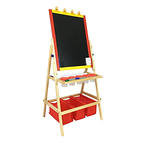 Children Dry Dual Side Erase Board – Multiple Accessory Art Easel for Over 3 Years Old Kids –...