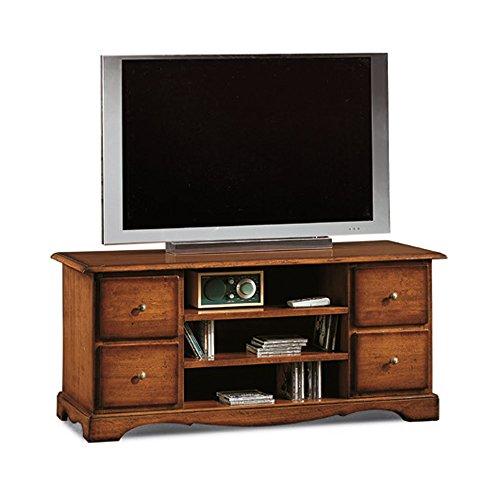 Giò Luxury Mobile Porta Tv, Stile Classico, In Legno Massello E Mdf Con Rifinitura In Noce Lucido - Mis. 117 X 49 X 53