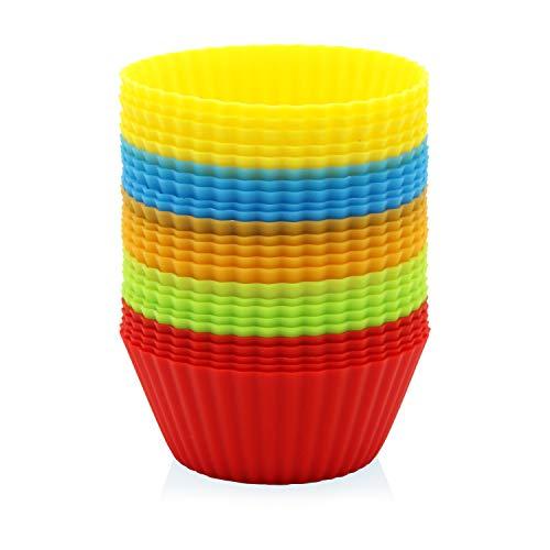 GOURMEO 25 formine per muffin in 5 colori, riutilizzabili, silicone di alta qualità, ecologiche, BPA-free – Formine per cupcake, formine da forno, formine per muffin e cupcake