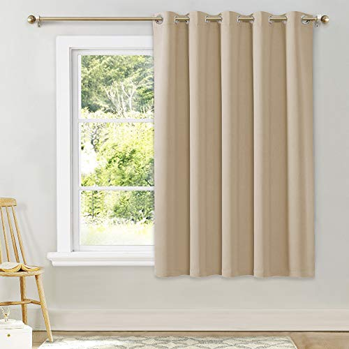 NICETOWN Bedroom Curtain Room Darkening Drapery - Biscotti Beige Room Darkening Drape/Panel for Bedroom, Grommet Top 1 Pack, 70 x 63 inches Long, Thermal Insulated, Privacy Assured