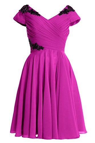 MACloth Women Cap Sleeve Short Wedding Party Mother of Bride Dress Formal Gown (46, Fuchsia)