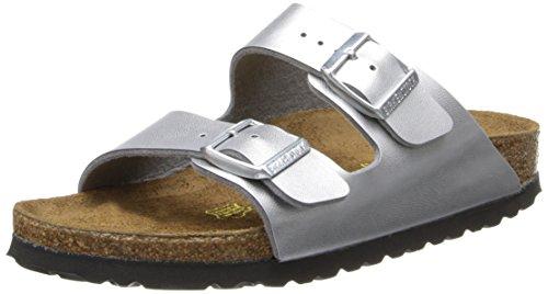 Birkenstock Unisex Arizona Silver Sandals - 37 N EU / 6-6.5 2A(N) US