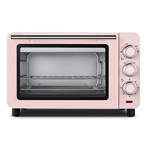 DULPLAY 15L Toaster Oven,Best Convection,Includes Bake Pan Broil Rack Countertop Oven Polished Stainless Toast Home Kitchen-Pink 39.5x35x25.3cm(16x14x10inch)