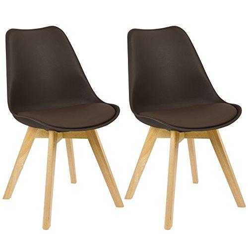 WOLTU BH29br-2 2 x Esszimmerstühle 2er Set Esszimmerstuhl Design Stuhl Küchenstuhl Holz, Braun