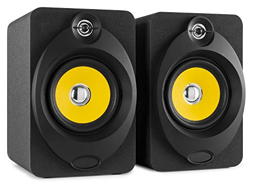 """Vonyx XP50 Enceintes Monitoring – Paire d'enceintes de studio 5.25"""", Puissance 100 Watts, Connexion sans fil Bluetooth, Port USB, Qualité professionnelle idéale pour mastering en studio"""