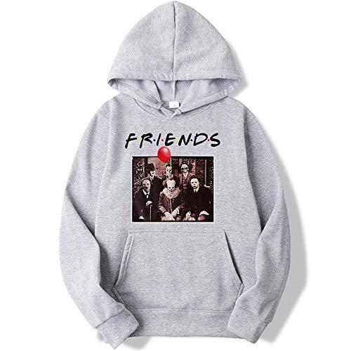 Unisex-Sweatshirt mit Aufdruck, Kapuzenpullover, Clown, Freunde, Cosplay Langarm-Pullover, Halloween-Kostüme für Männer und Frauen Gr. Medium, grau